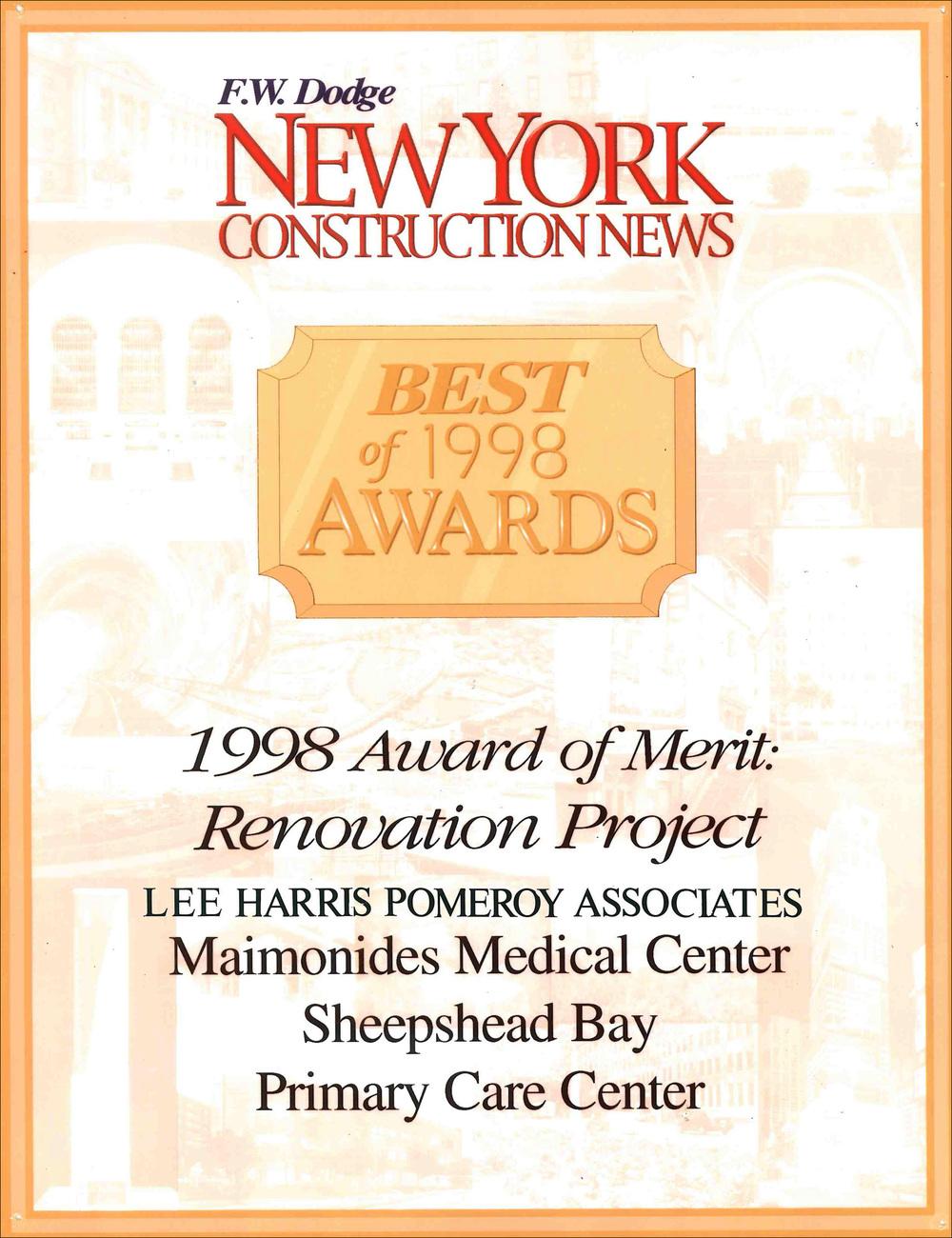 1998 NY Construction News Maimonides