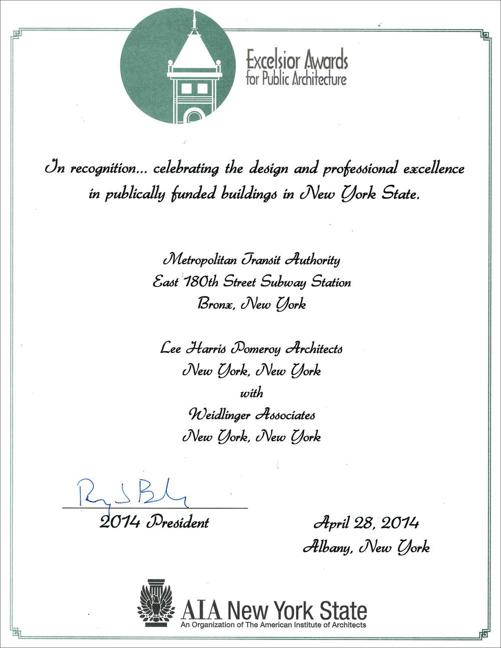 2014 AIA NYS Excelsior Award E 180 St