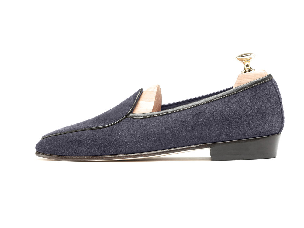 Navy Grey Belgian Loafers