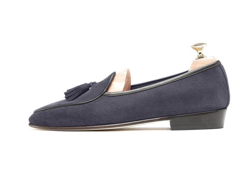 Belgian Tassel Loafers Navy Grey