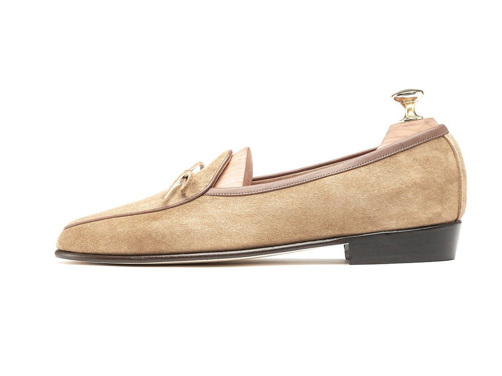 Mens String Loafers Sand Creme