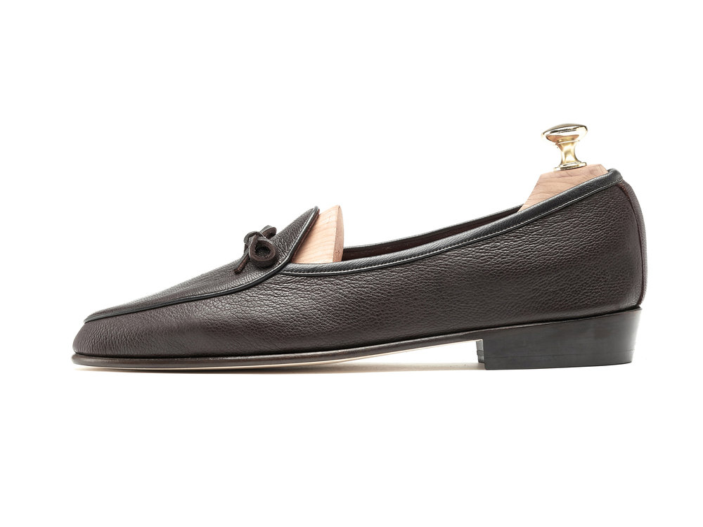 Mens Dark Brown String Leather Loafers