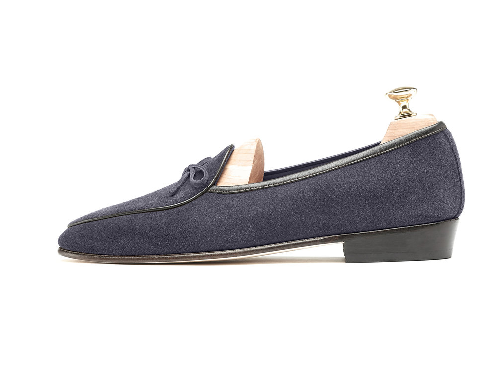 Belgian Navy Grey String Loafers