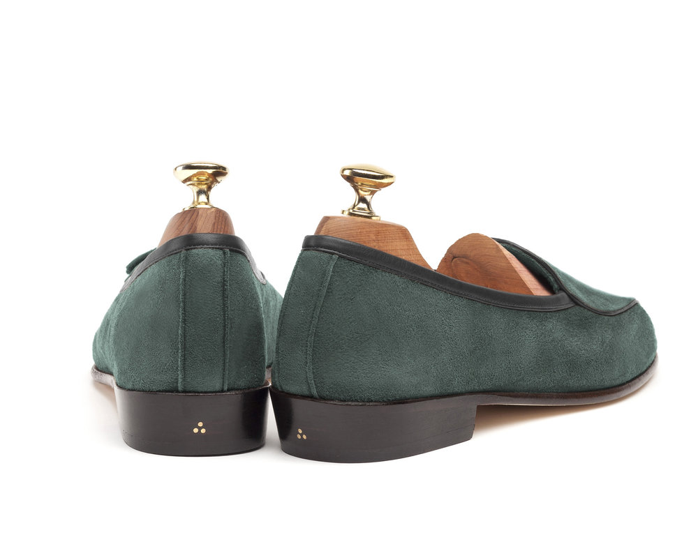 Belgian Green String Loafers