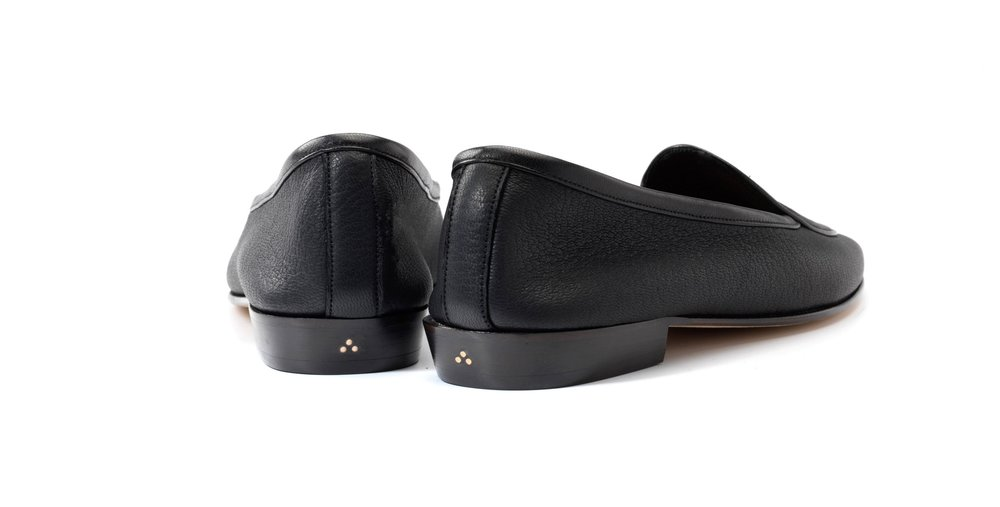 Womens Nappa Black Bow Loafers
