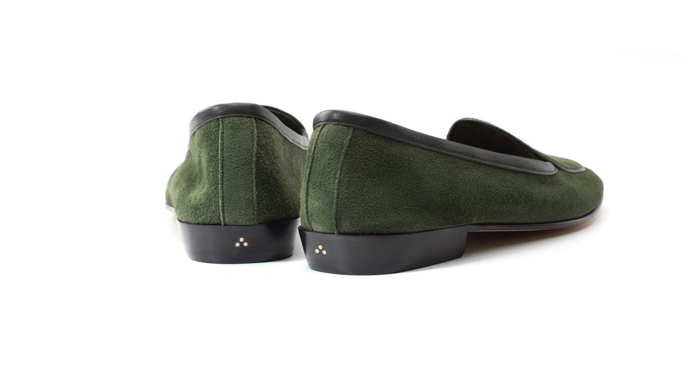 Womens Grenouille Green Bow Loafers