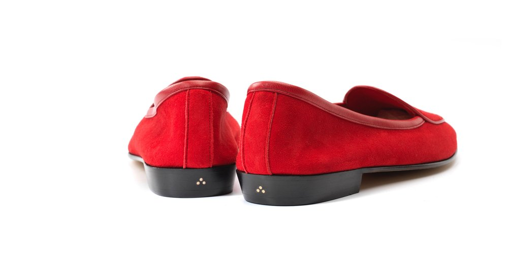 Womens Scarlet Red Bow Loafers