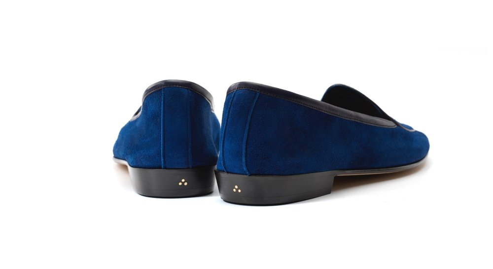Womens Admiral Blue Bow Loafers