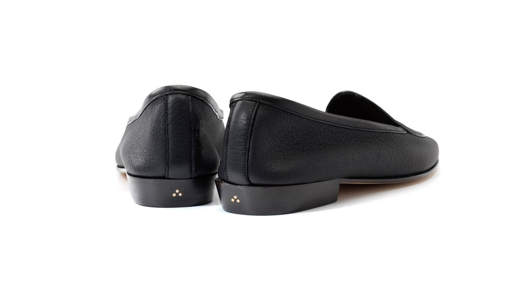 Womens Black String Loafers