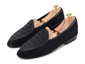 824c9b96f7d8 Black Nubuck Crocodile   Suede Loafers - Mens Loafers - Womens Loafers