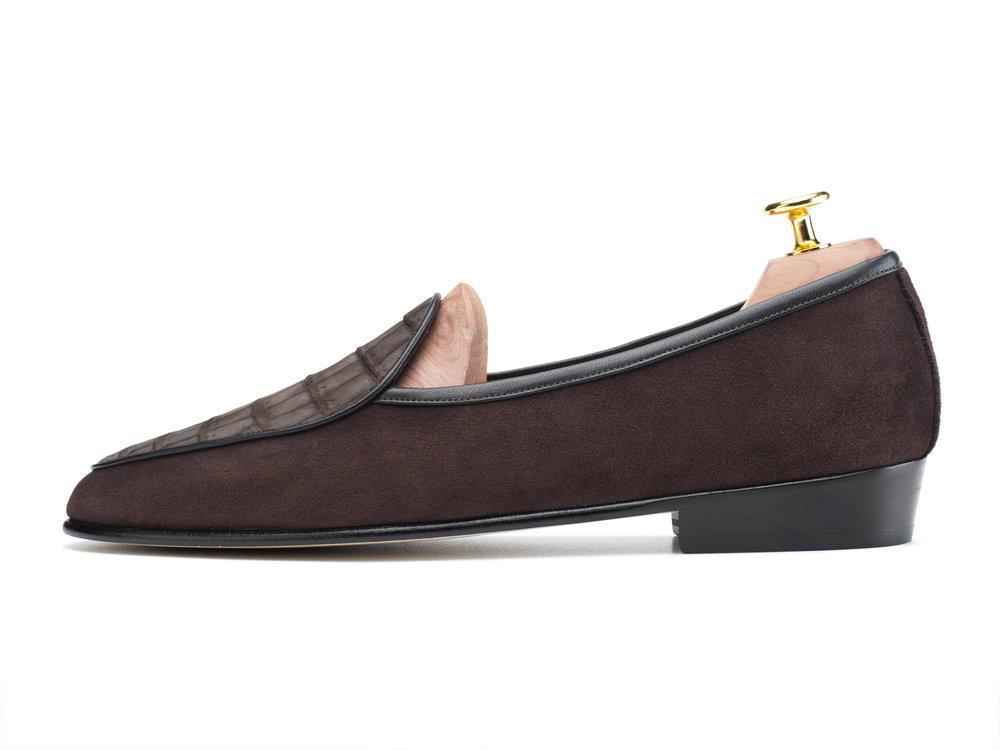 01c4f52f2de Dark Brown Nubuck Crocodile   Suede Loafers - Mens Loafers - Womens Loafers