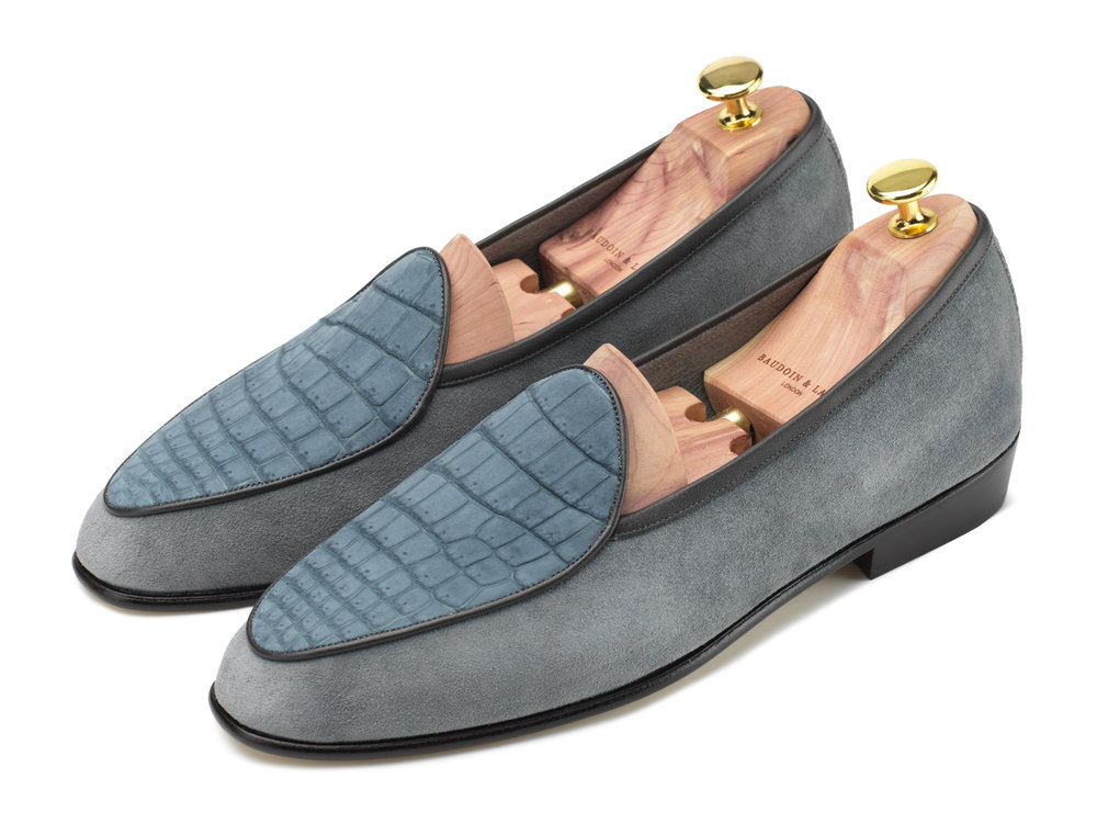 5635769f608c Grey Nubuck Crocodile   Suede Loafers - Mens Loafers - Womens Loafers