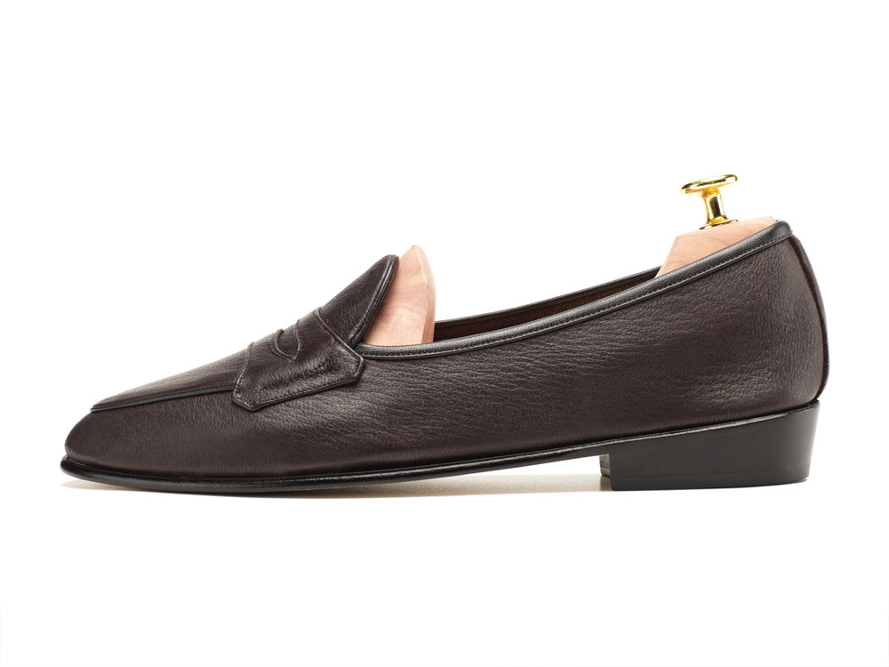 034b8e14df6 Dark Brown Deerskin Classic Penny Loafers - Mens Loafers - Womens ...