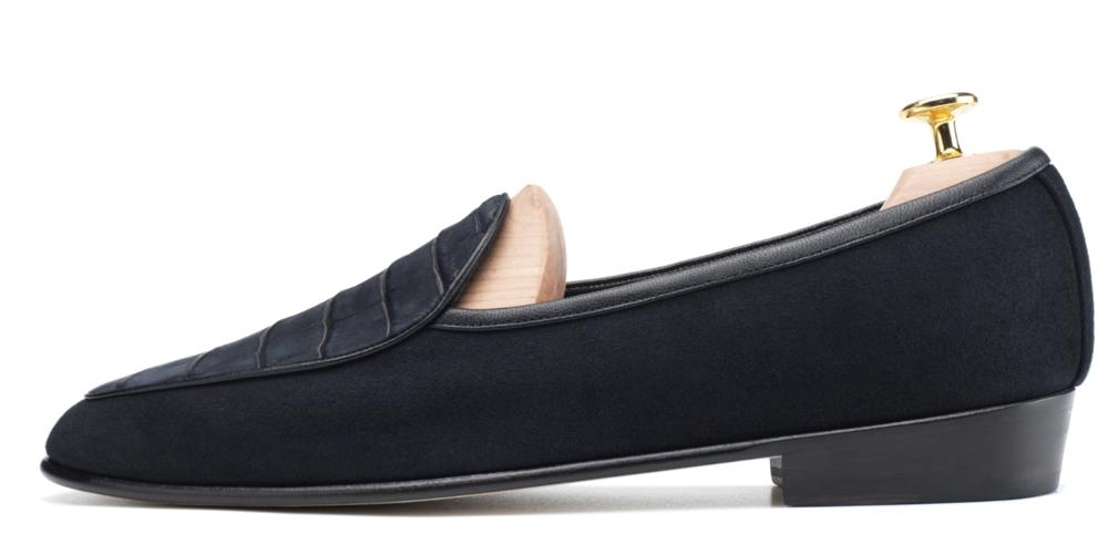 Black Nubuck Crocodile & Suede Loafers