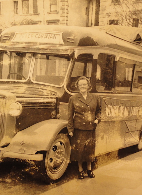 Dora Russell in 1958, setting off in her battered charabanc on the Women's Caravan of Peace.
