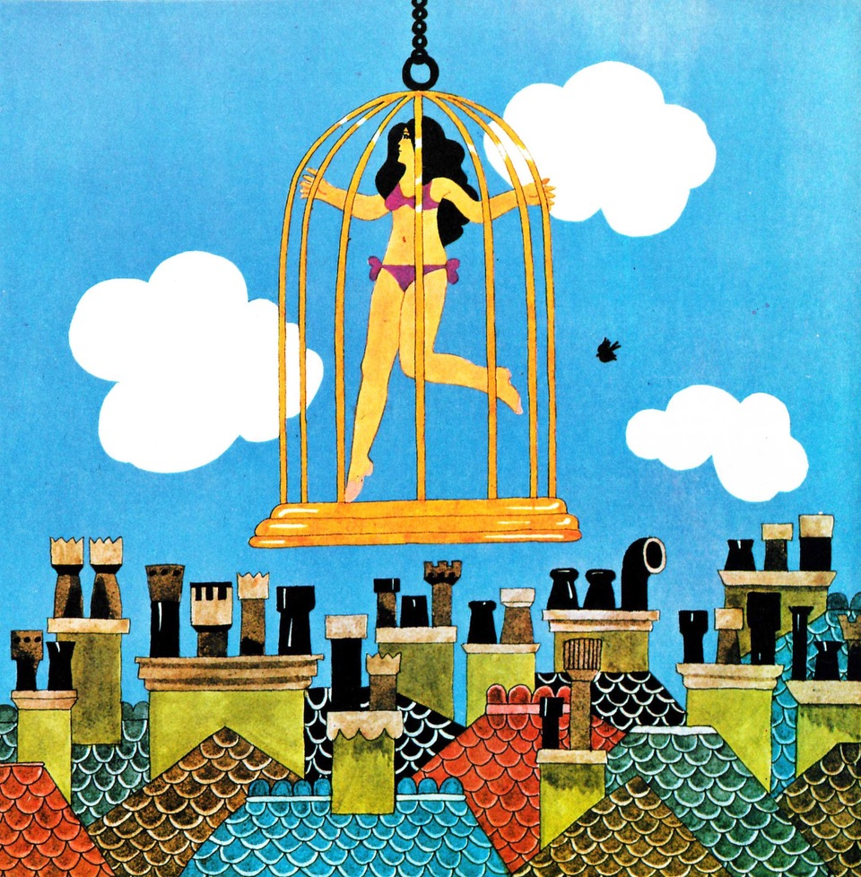 Theatrical publicity stunts accompanied the opening of new boutiques. For the launch of Lady Jane's Birdcage in 1966, the owners put a bikini-clad model in a cage and hoisted it above the street.