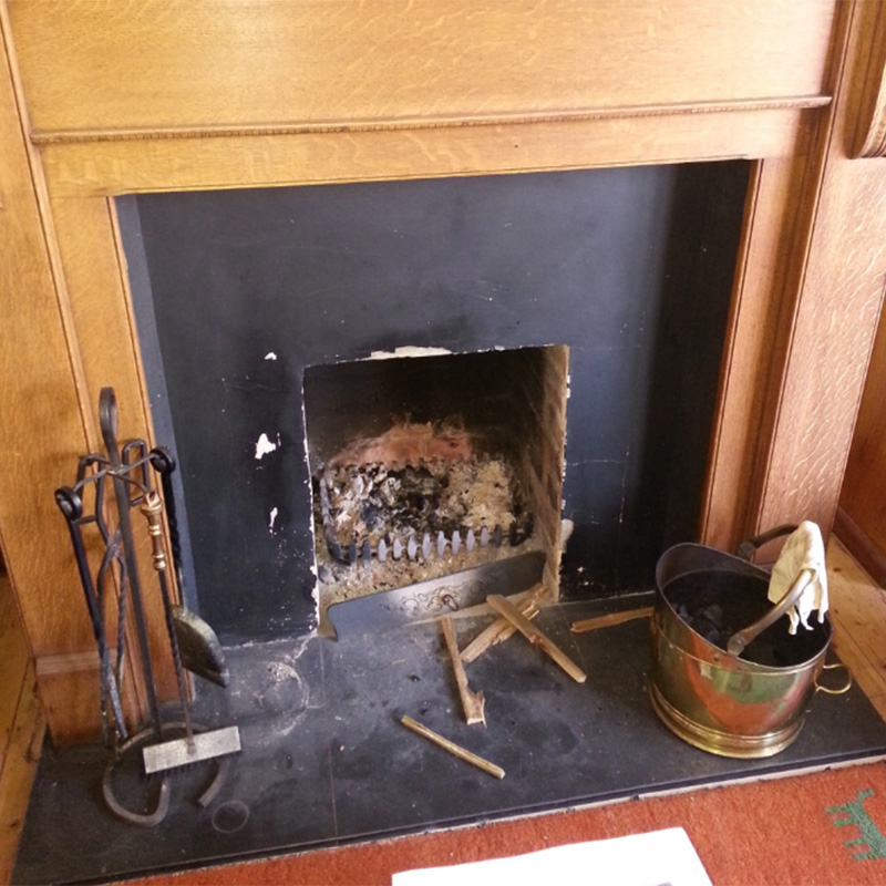 Builders opening needed to be restored. Slate hearth  needed to be polished.