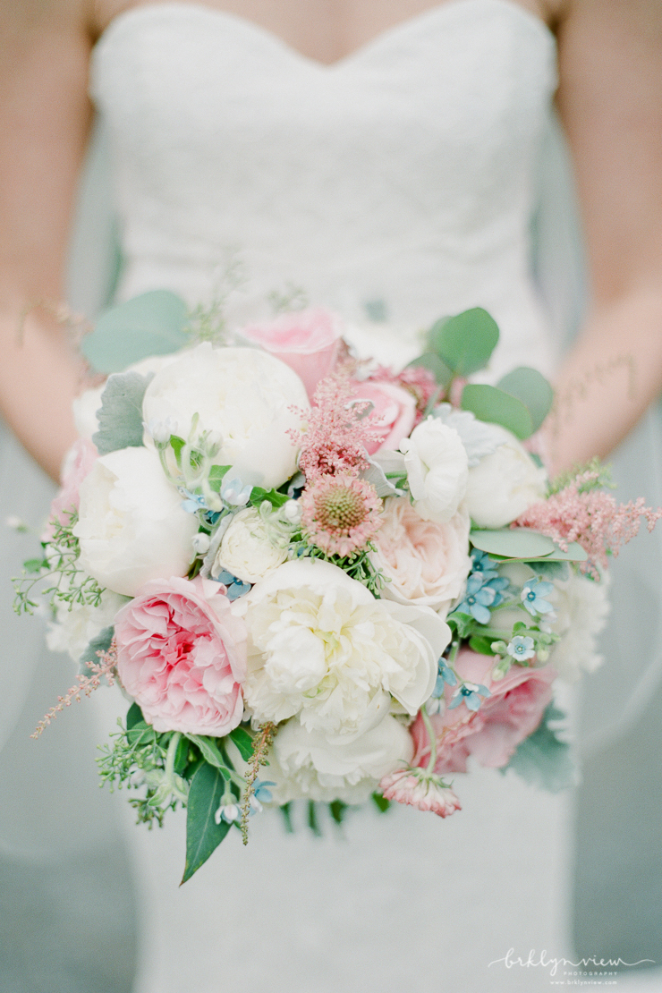 Pastel Pink June Garden Roses Wedding Bouquet