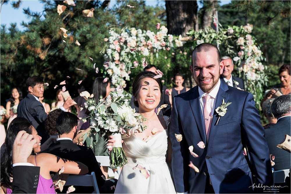 Rose Petal Toss Wedding Ceremony Exit Photos