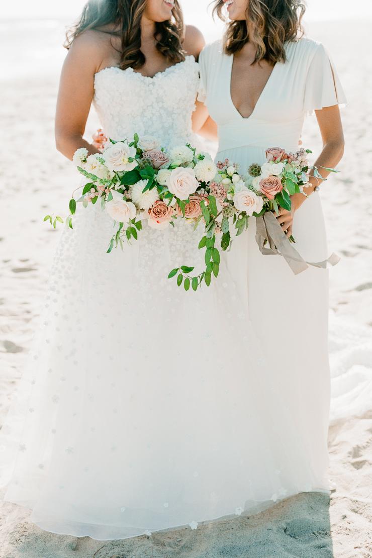 Bride and Maid of Honor on Beach Wedding Photos