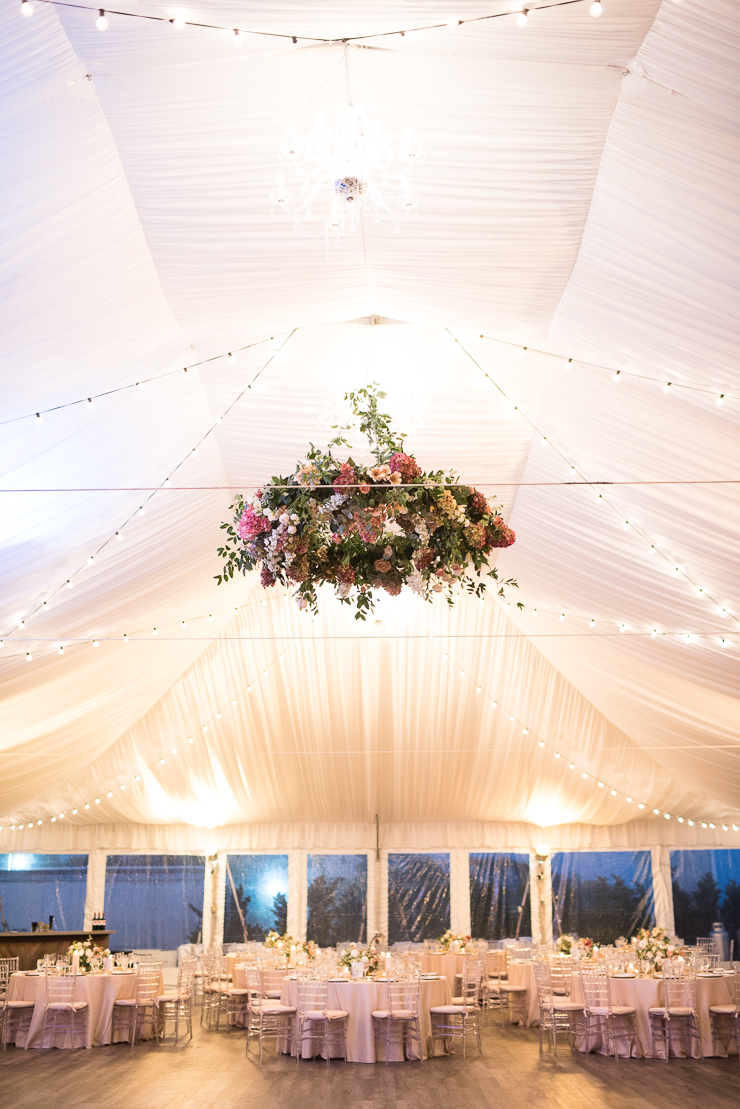 Hanging Flower Display Wedding Reception Decor