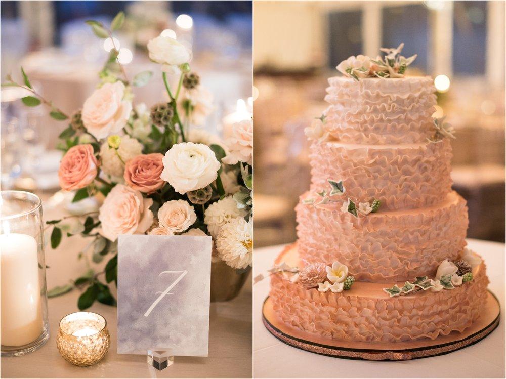 Peach Ruffle Wedding Cake