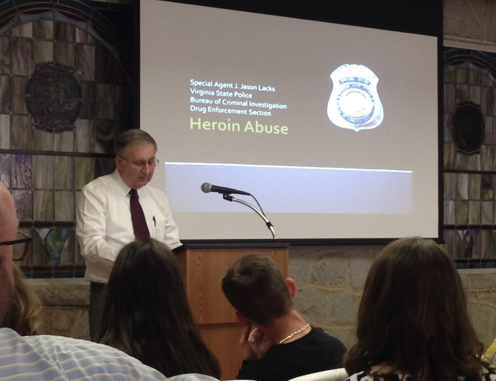 "Bethany Pastor/State Police Special Agent Ronnie Campbell opened the ""Drug & Gang Awareness Program"""