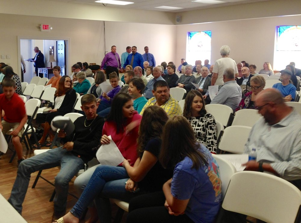 "The crowd gathers for the ""Drug & Gang Awareness Program."" By the time theprogram started there was standing room only."