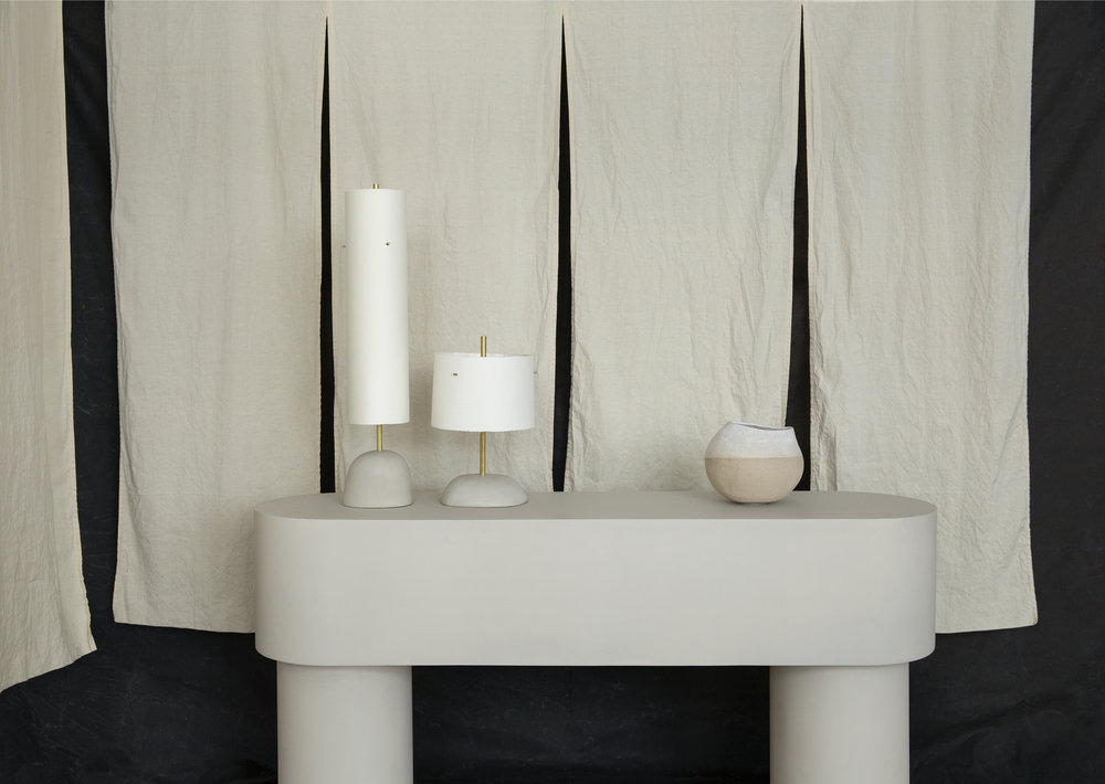Pilotis Console Table and Holm lights by Malgorzata Bany