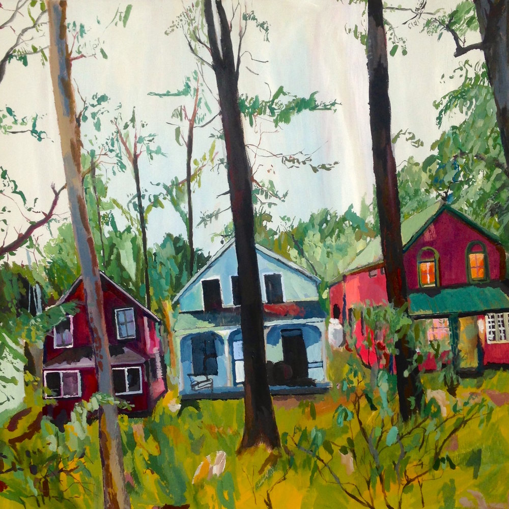 Cottages by Trees