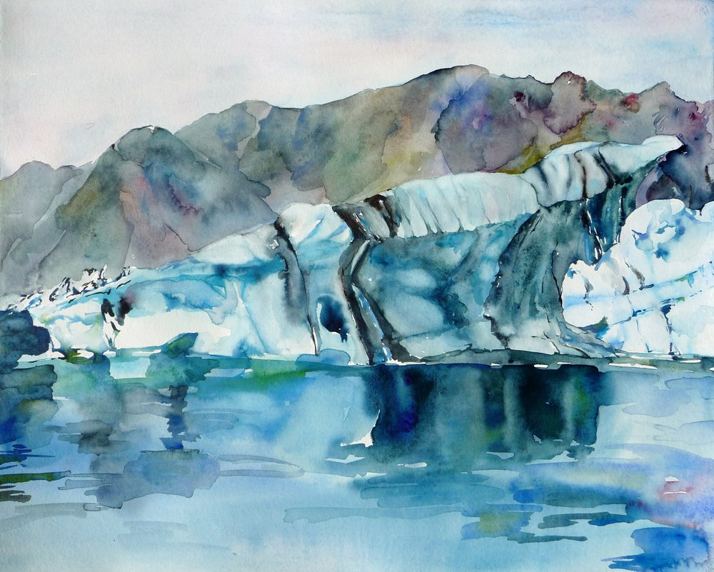 Jokulsarlon, Iceland 1   watercolor on paper, 16x20, framed, $625