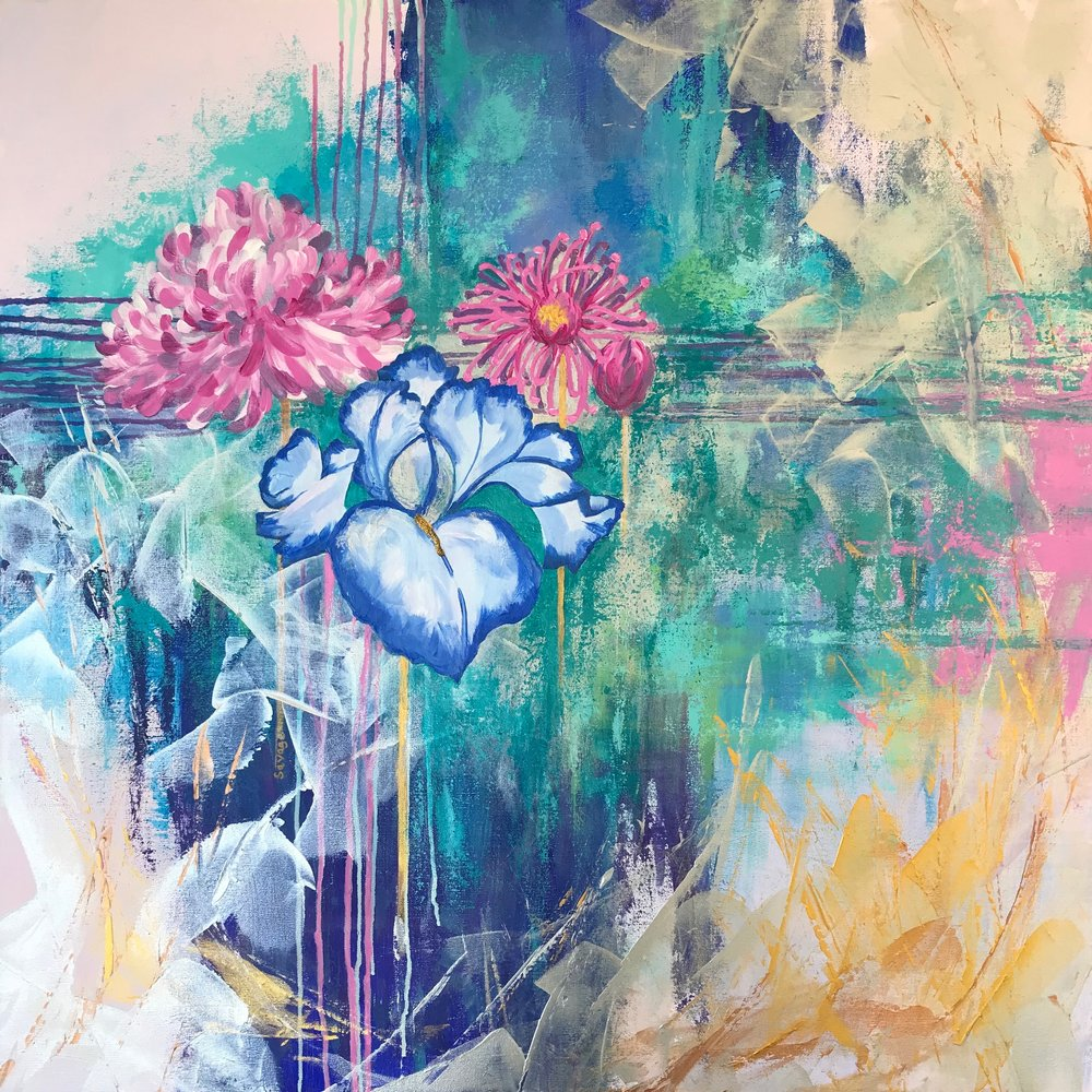 Peony & Iris, 36x36, acrylic on canvas, $2450