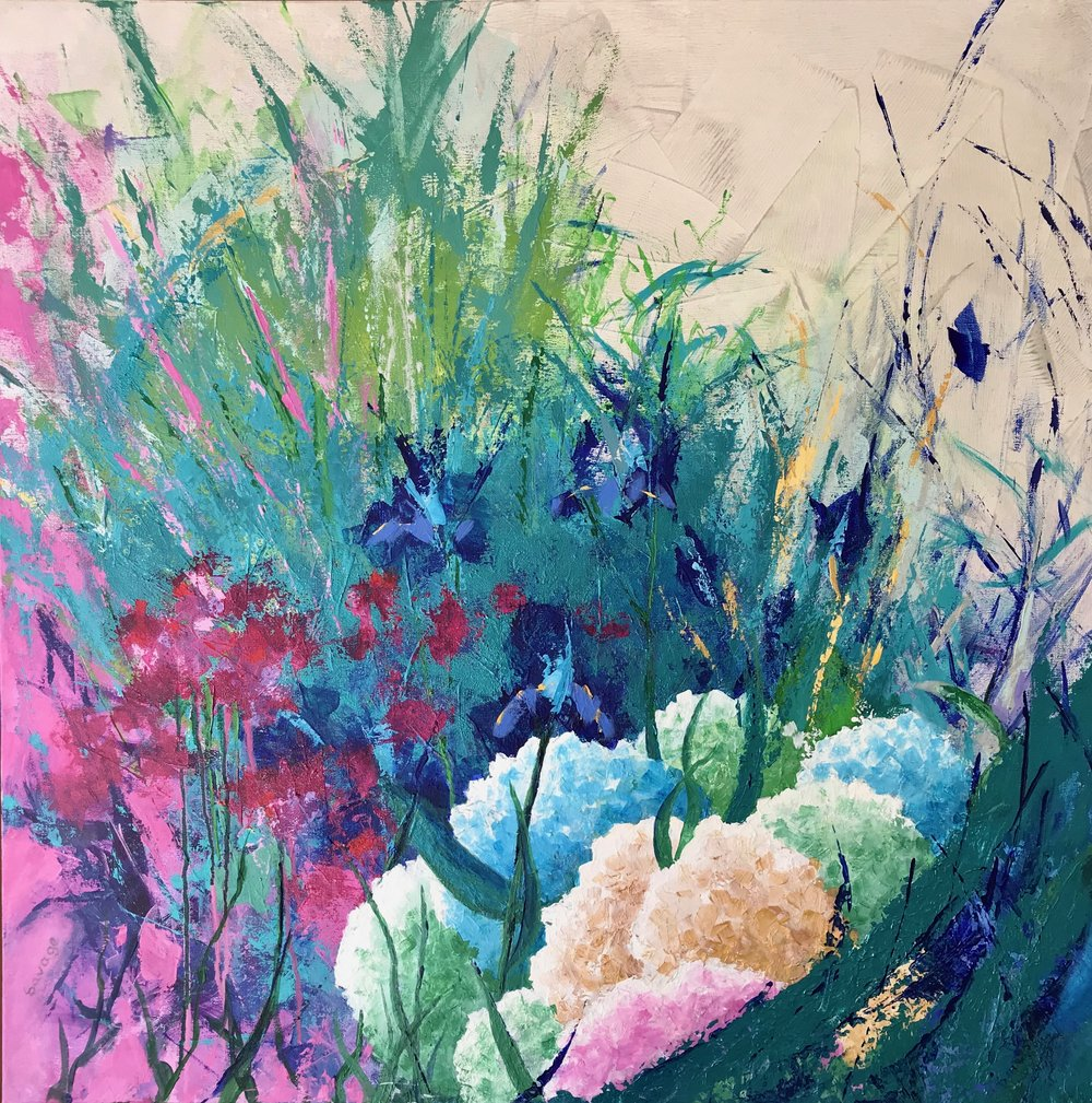 Hydrangea, 36x36, acrylic on canvas, $1950