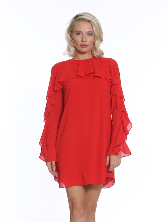 Ruffle Front Dress $248.00 - Description: A keyhole back detail with button · material · cleaning · dimensions · Style #9605 U-T· Made in NYC
