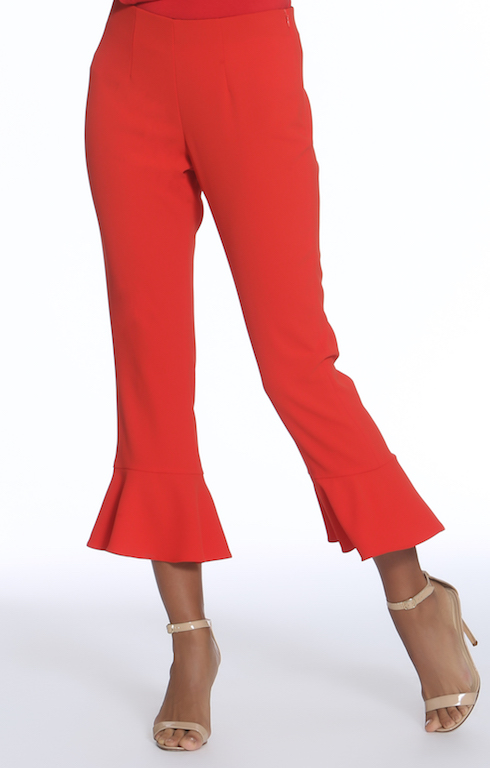 Flounce Hem Pant With Slit$202 - · material · cleaning · dimensions · Style #4957 N-I· Made in NYC