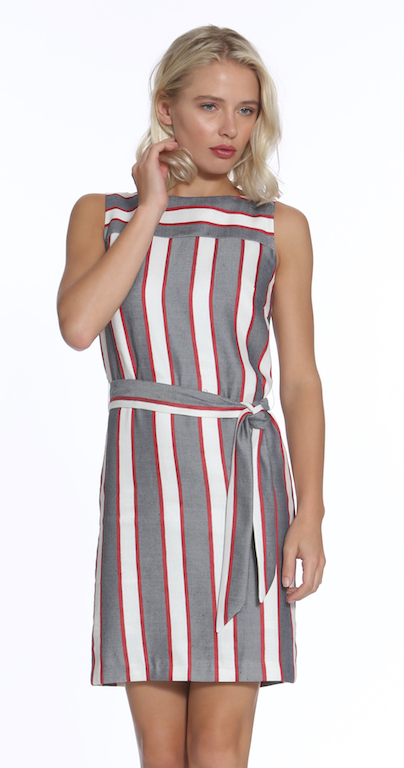 Stripe Belted Sheath Dress$264 - · material · cleaning · dimensions · Style #9598 U-L· Made in NYC