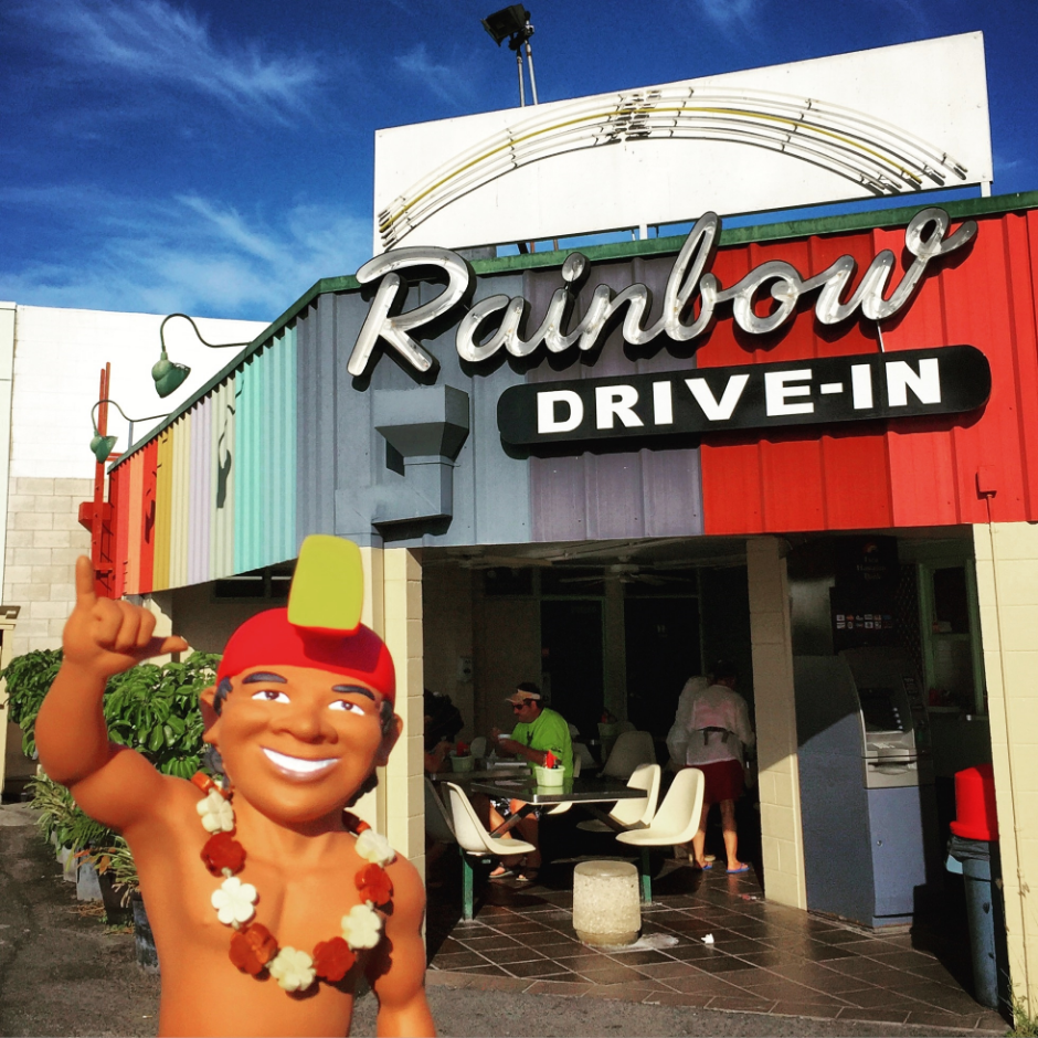 The Menehune loves the ono (delicious) food served at Rainbow Drive-In