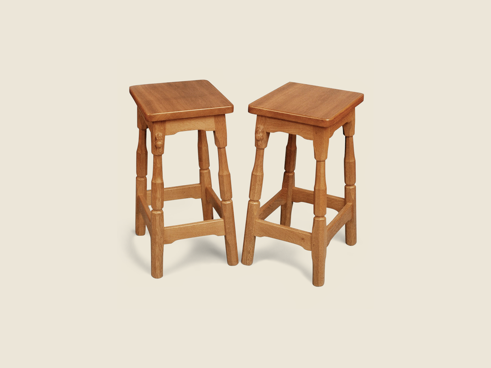 Oak Bar Stool with Wooden Seat
