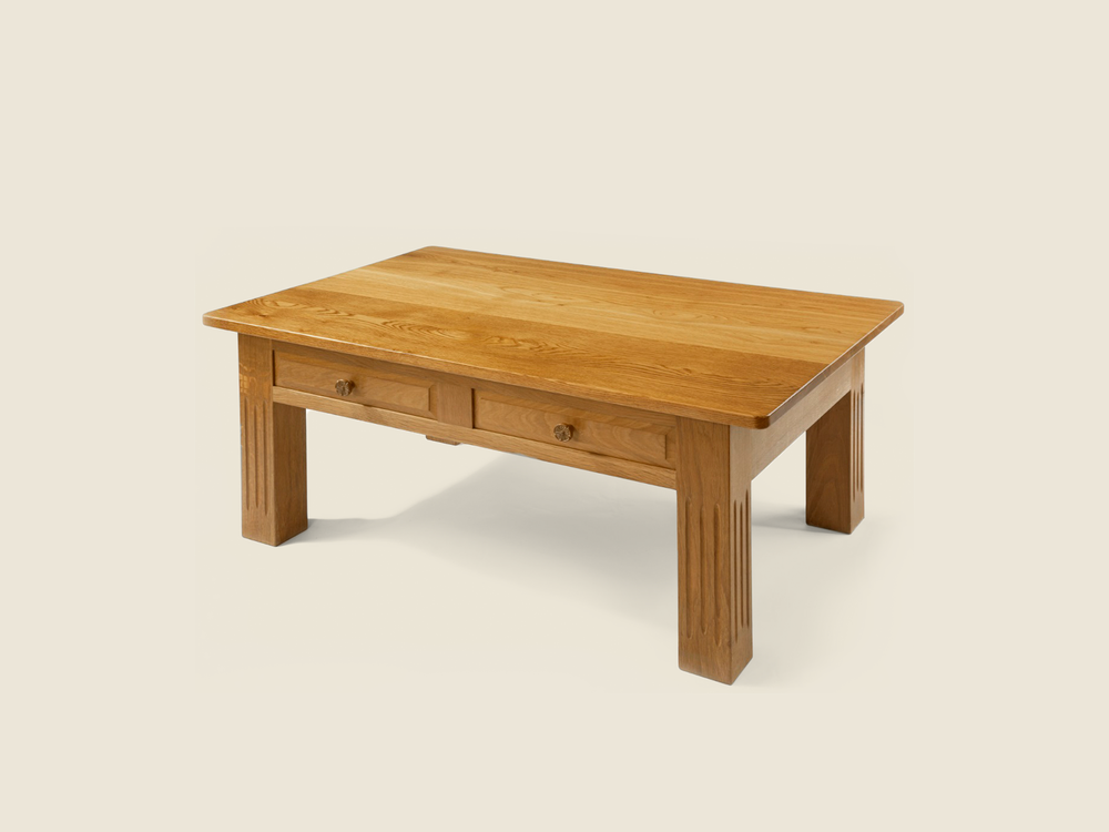 Oak Coffee Table (with Double Drawers)