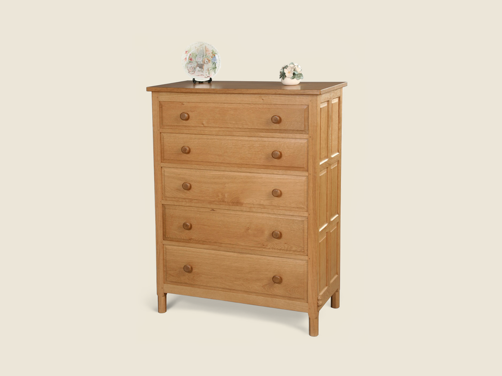 BF603 Solid Oak Chest of Drawers (5 Drawers)