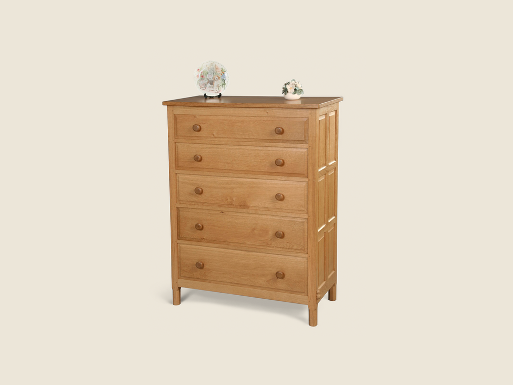 BF603 Oak Five Drawer Chest