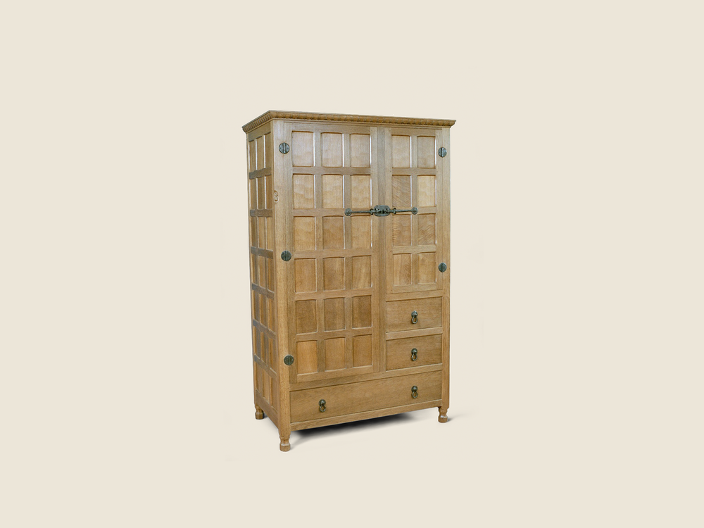 BF711 Oak Wardrobe with Wrought Iron
