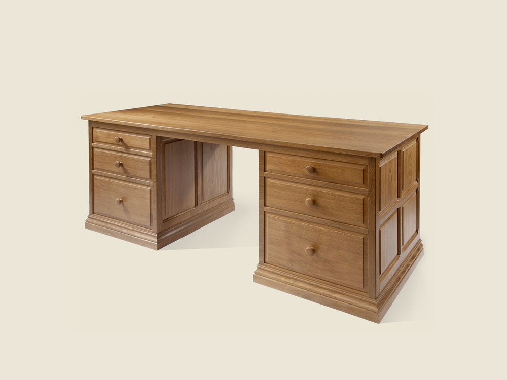 BF906 Solid Oak Kneehole Desk