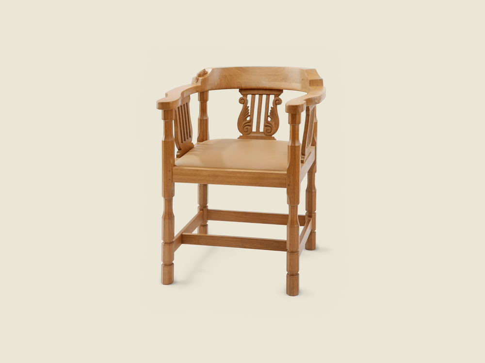 BF218 Solid Oak Monks Chair with Lyre Inserts