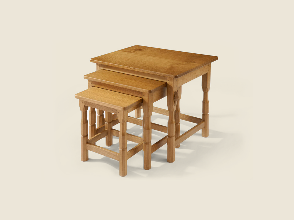 BF1009 Solid Oak Nest of 3 Tables