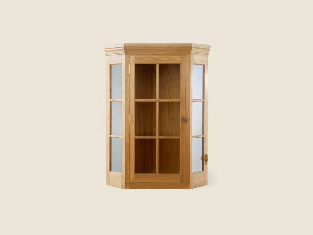 BF503 Oak Wall Hanging Corner Cabinet