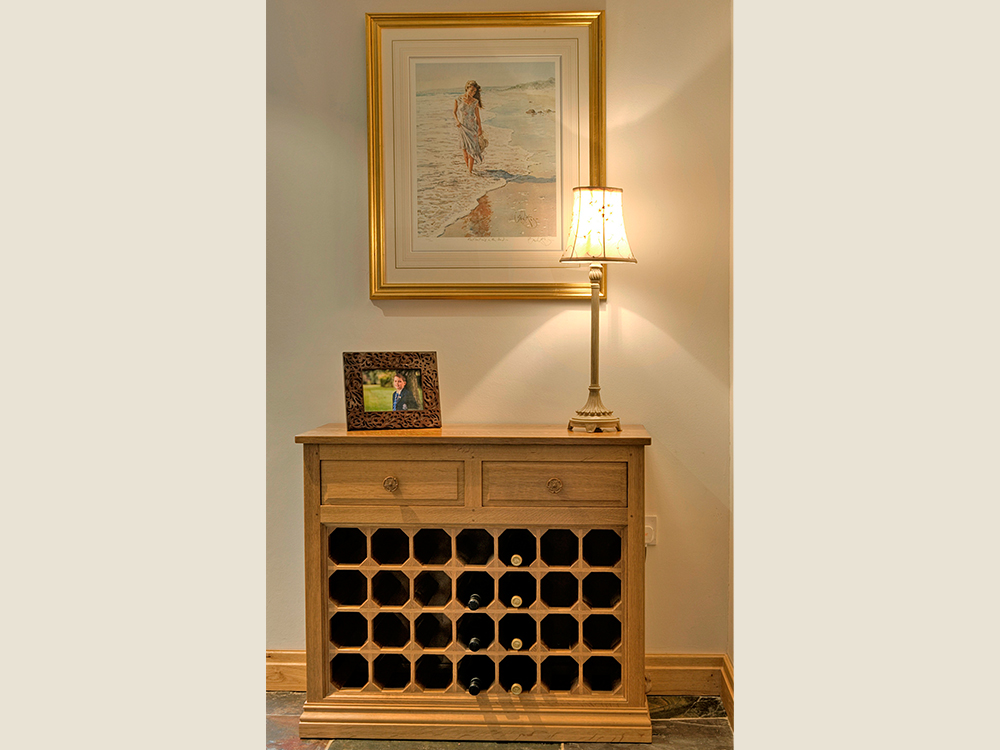 BF606 Oak Wine Cabinet with 2 drawers