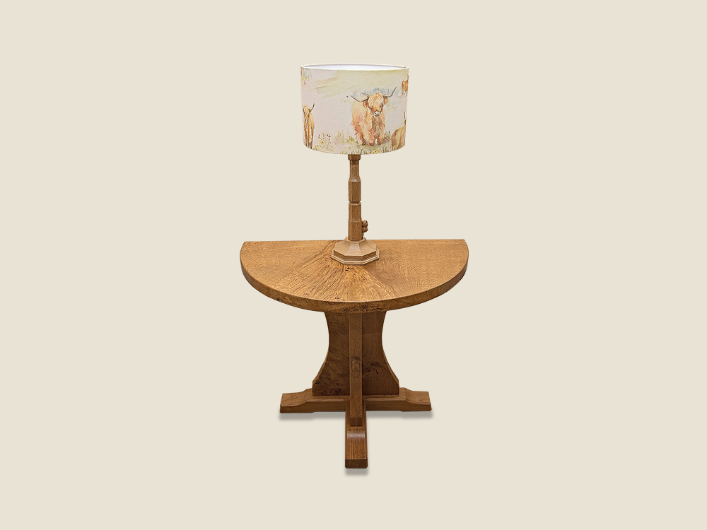 BF1013 Burr Oak Half Moon Table