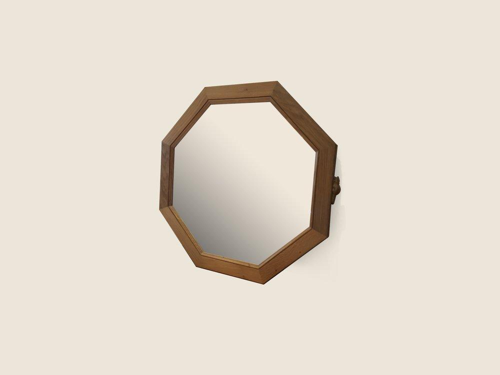 BF1115 Oak Octagonal Mirror