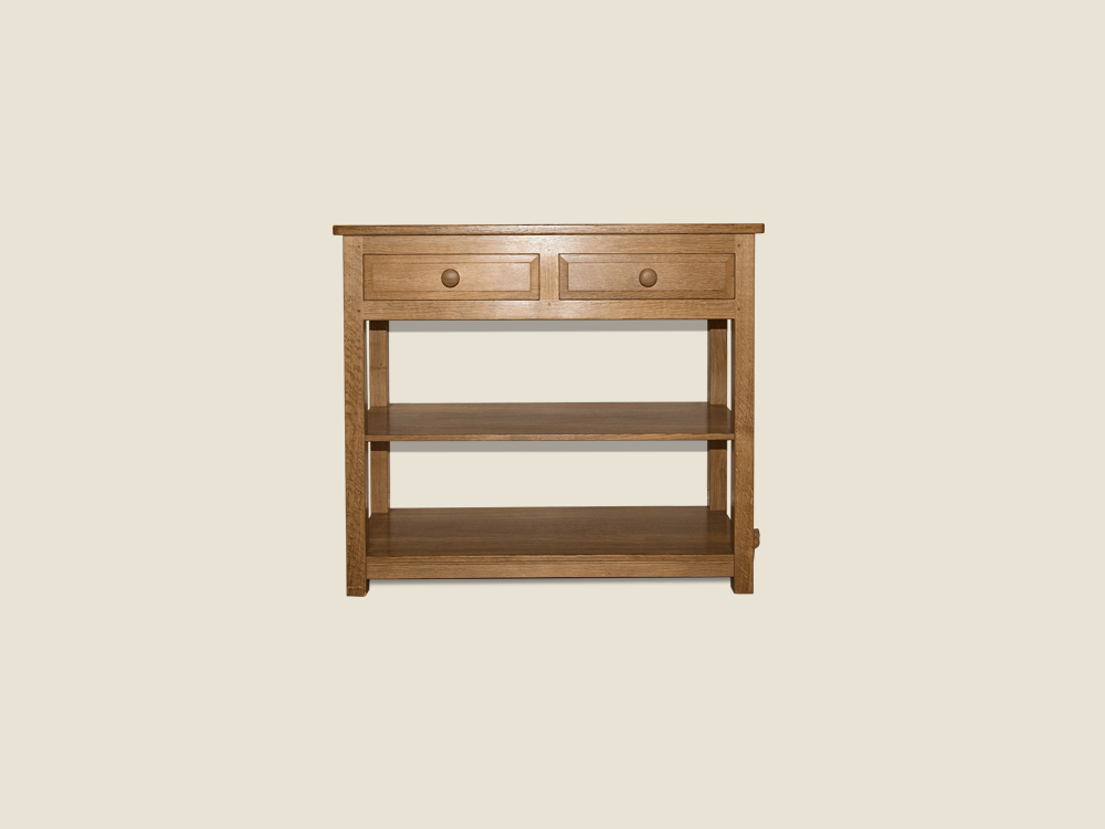BF1017 Solid Oak Hall Table with 2 Shelves